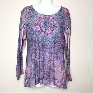 🌻4/$20 Purple Long Sleeve Rhinestone Mandala Top